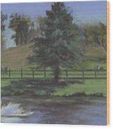Rural Landscape Painting Of Bauer Farm Wood Print