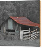 Rural Red - Red Roof Barn Rustic Country Rural Wood Print