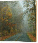 Rural Road In North Carolina With Autumn Colors Wood Print