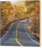 Rural Road Running Along The Maple Trees In Autumn 2 Wood Print