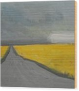 Rural Road Trough Canola Field Wood Print