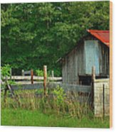 Rural Serenity - Red Roof Barn Rustic Country Rural Wood Print