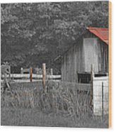 Rural Serenity Black And White Version - Red Roof Barn Rustic Country Rural Wood Print