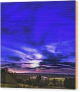 Rural Sunset Panorama Wood Print
