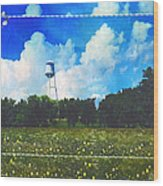 Rural Water Tower Unconventional Wood Print