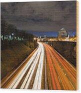 Rush Hour Light Trails Wood Print