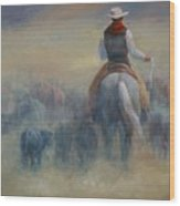 Rush Hour Traffic   Western Art Cowboy Painting Wood Print