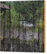 Rushing Cascade In The Andes - On Bark Wood Print
