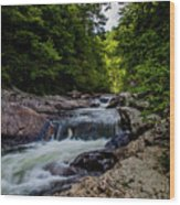 Rushing Falls In The Mountains Wood Print