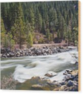 Rushing River Wood Print