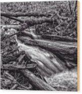 Rushing Stream - Bw Wood Print