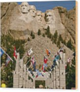 Rushmore State Flags Wood Print