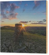 Rushup Edge From Mam Tor Summit Sunset Wood Print