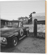 Russel Farms 1951 Ford F100 Black And White Wood Print
