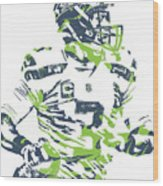 Russell Wilson Seattle Seahawks Pixel Art 10 Wood Print