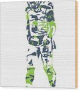 Russell Wilson Seattle Seahawks Pixel Art 11 Wood Print