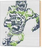 Russell Wilson Seattle Seahawks Pixel Art 12 Wood Print