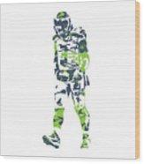 Russell Wilson Seattle Seahawks Pixel Art T Shirt 1 Wood Print