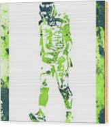 Russell Wilson Seattle Seahawks Water Color Art 2 Wood Print