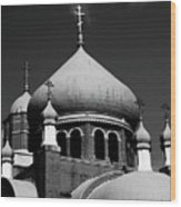 Russian Orthodox Church Bw Wood Print