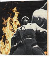 Russian Soldier Statue In Snow And Fire Wood Print