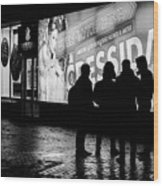 Russian Teens At Night Outside A Shopping Center Wood Print
