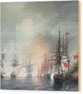 Russian Turkish Sea Battle Of Sinop Wood Print by Ivan Konstantinovich Aivazovsky