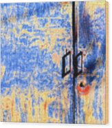 Rusted Blue And Yellow Door Wood Print