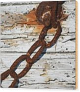 Rusted Chain On Driftwood Wood Print