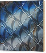 Rusted Fence With Blue Paint Wood Print