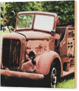 Rusted Mack Fire Engine Wood Print