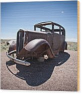 Rusted Old Car On Route 66 Wood Print