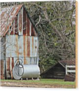 Rusted Tin Shed In Burnt Corn Wood Print