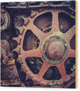 Rusted Tractor Wheel Wood Print