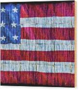 Rustic American Flag Wood Print