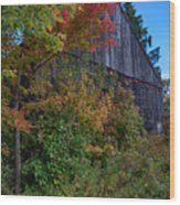 Rustic Barn Above The Fall Colors Wood Print