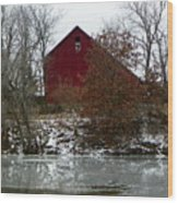 Rustic Barn By The Frozen Lake Wood Print