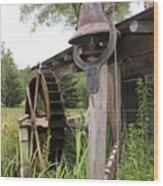 Rustic Bell And Waterwheel Wood Print