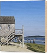 Rustic Boathouse On The Beach. Wood Print