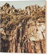 Rustic Cliff Spring Wood Print