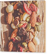 Rustic Dried Fruit And Nut Mix Wood Print