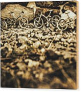 Rustic Mountain Bikes Wood Print