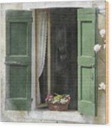 Rustic Open Window With Green Shutters Wood Print