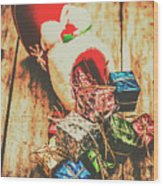 Rustic Red Xmas Stocking Wood Print