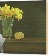 Rustic Still Life With Daffodils Wood Print