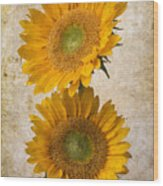 Rustic Sunflowers Wood Print