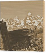 Rustic View Of Grand Teton Wood Print