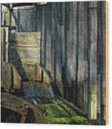 Rustic Water Wheel With Moss Wood Print