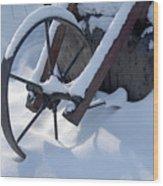 Rustic Wheel In The Snow#2 Wood Print