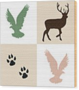Rustic Wildlife Pattern Wood Print